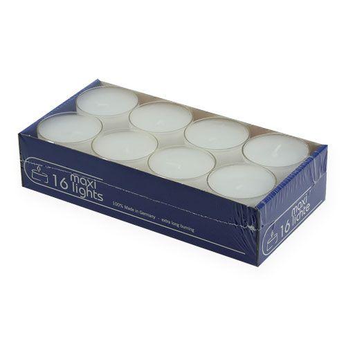Teelichter maxi mit transp. Hülle Weiß 54mm 16St
