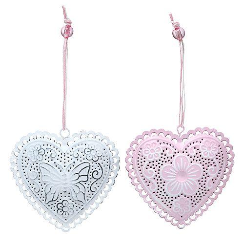 Metall-Hänger Herz Weiß, Rosa 8,5cm 6St