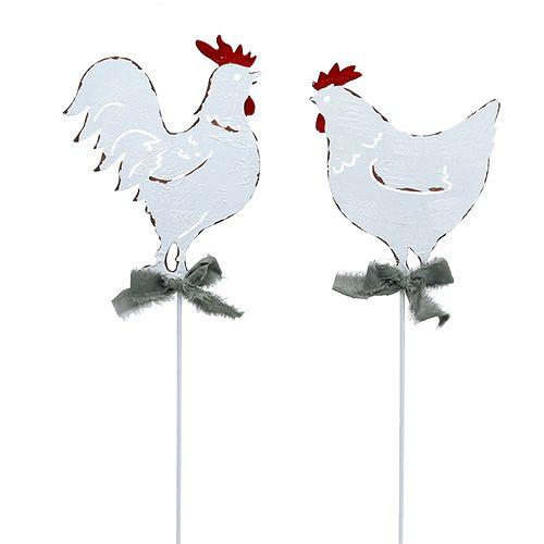 Metall-Huhn am Stab Weiß 16cm 6St