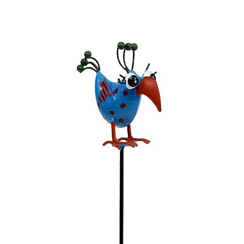 Metall-Vogel am Stab Blau 11cm L39cm 1St