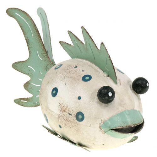 Deko Fisch aus Metall Grün, Weiß 18cm