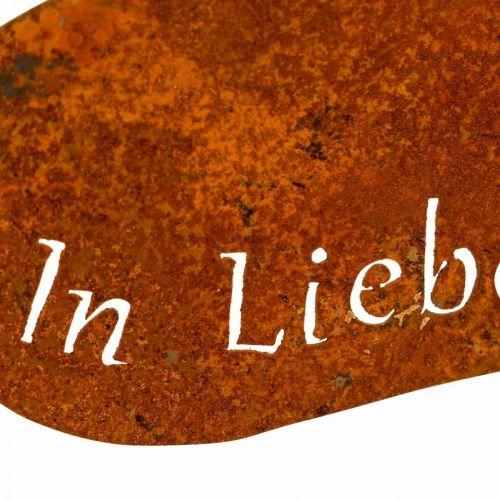 """Trauerfloristik, Herzstecker """"In Erinnerung"""" """"In Liebe"""" """"Unvergessen"""", Metalldeko Edelrost 8×7cm 12St"""