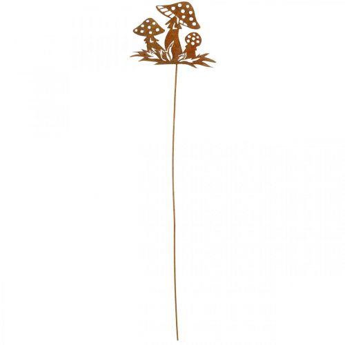 Herbststecker Fliegenpilze, Metalldeko, Blumenstecker Edelrost 39cm
