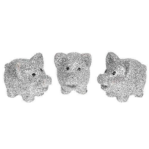 Mini Glückschweine mit Glimmer Silber 3cm 24St