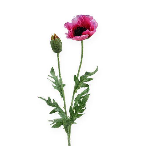 Mohnzweig Pink, Lila 75cm