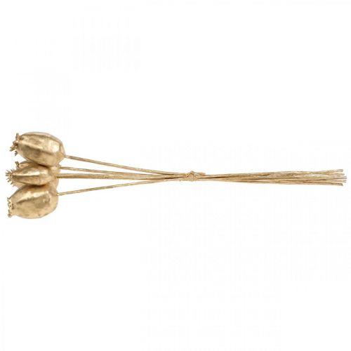 Mohnkapseln Deko Mohn künstlich Gold Weihnachtsdeko 38cm 6St