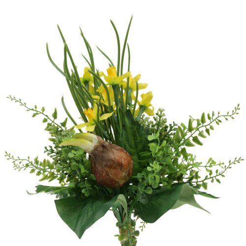 Narzissenstrauß künstlich mit Zweigen und Zwiebeln 38cm