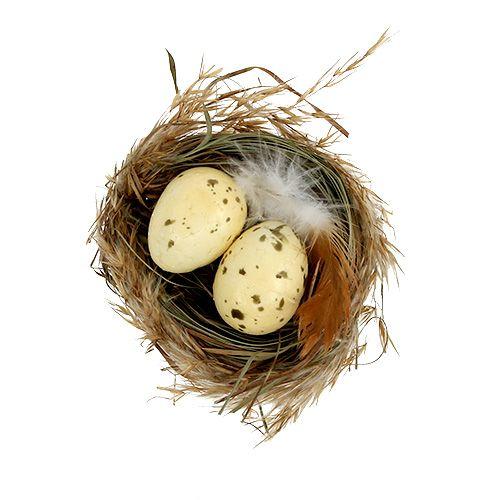 Nest mit Eiern weiß Ø5cm 12St