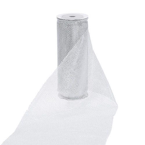 Netzstoff Silber mit Glitzer 15cm 5m