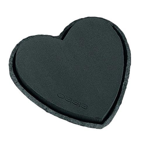 OASIS® Steckschaum Herz 25,5cm Schwarz 2St