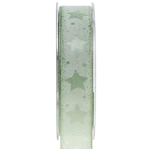 Organzaband mit Sternmotiv Grün 25mm 15m