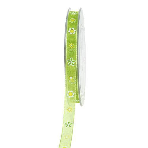 Organzaband Grün mit Muster 10mm 20m
