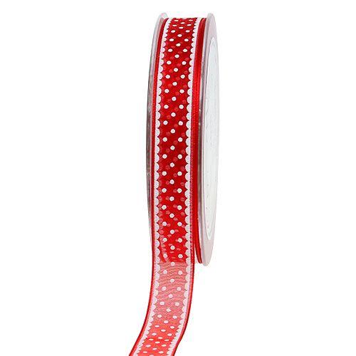 Organzaband Rot mit Punkten 15mm 20m