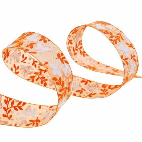 Organzaband Schmetterlinge 25mm Orange Dekoband Geschenkband 20m