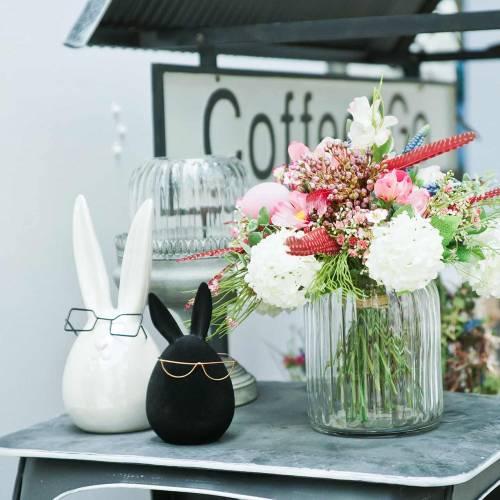 Osterhase mit Brille Weiß Perlmutt Keramik H20cm