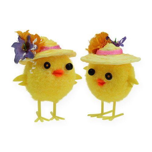 Osterküken mit Hut Gelb 6cm 6St