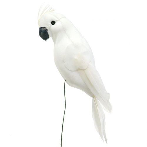 Papageien mit Federn am Draht Weiß 15 - 19cm 4St