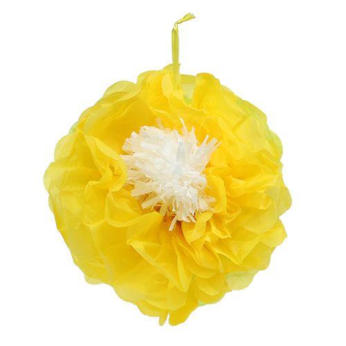 Papierblume Ø28cm zum Hängen Grün-Gelb