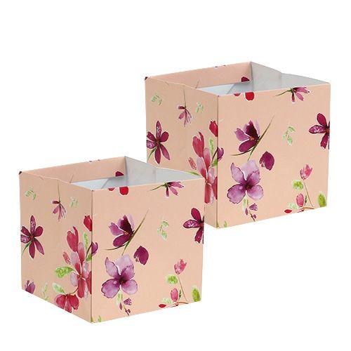 Papiertasche 10,5cm x 10,5cm Rosa mit Muster 8St