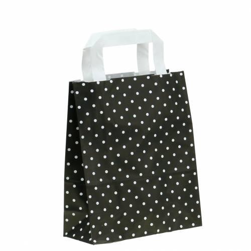 Papiertasche Schwarz mit Punkten 22cm x 10cm x 31cm 25St