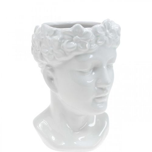 Pflanzkopf Büste Frau Weiß Keramik Blumenvase H19cm