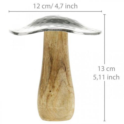 Deko Pilz Metall Holz Silbern, Natur Herbstdeko 13cm