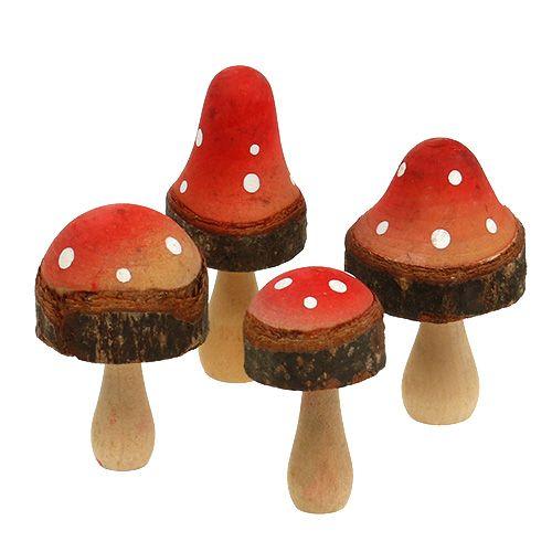 Pilze aus Holz Mix 5,5cm - 8cm 8St