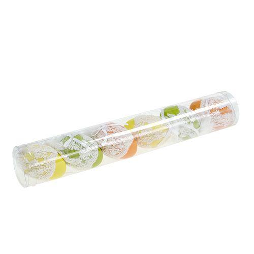 plastik deko eier mit t ll zum h ngen 6cm 6st gro handel. Black Bedroom Furniture Sets. Home Design Ideas