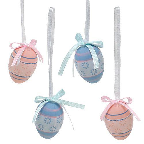 Plastik Eier zum Hängen 4cm Blau-Rosa Mix 36St