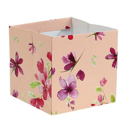Papiertasche 12cm x 12cm Rosa mit Muster 8St