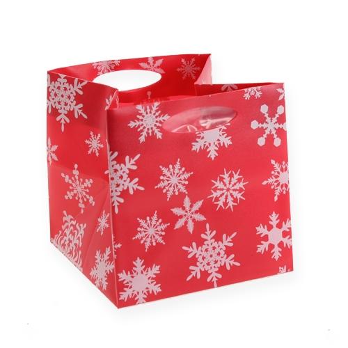 Plastiktasche mit Schneeflocken Rot 10,5cm 12St