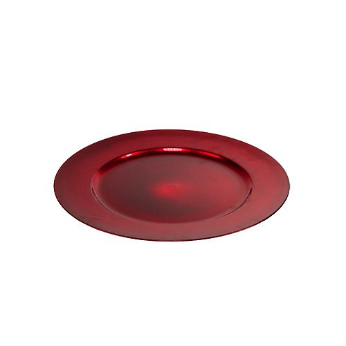 Plastikteller 25cm rot mit glasierten Effekt