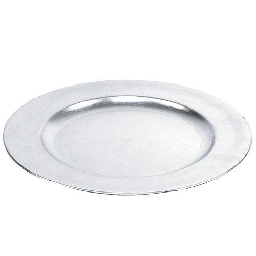 Plastikteller 33cm Silber mit Blattgold-Effekt