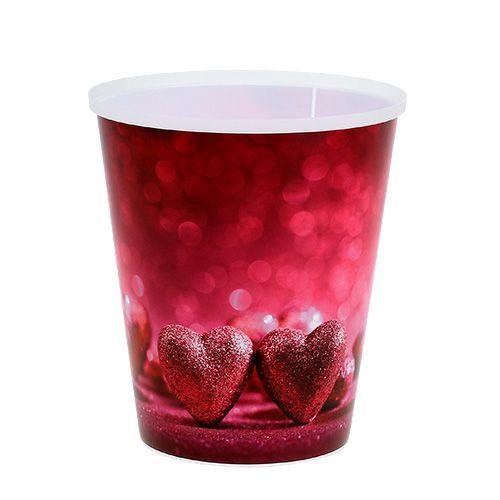 Plastiktopf mit Herz Pink Ø12cm H13,5cm 1St
