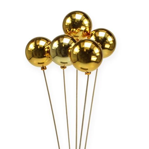 Weihnachtskugel Ø6cm am Stab Gold 12St