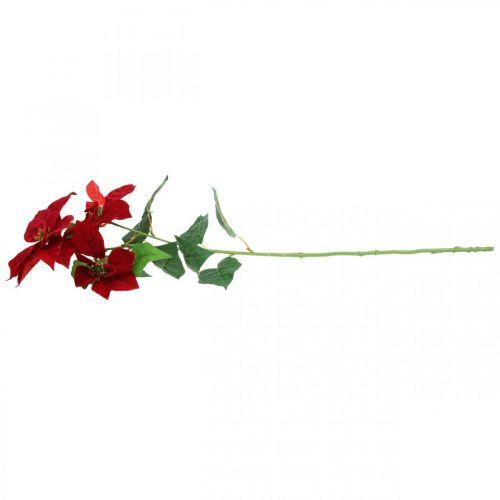 Künstlicher Weihnachtsstern Rot Stielblume 3 Blüten 85cm