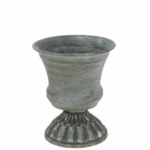 Pflanzpokal Kelch Antik Grau Ø7,5cm H9cm