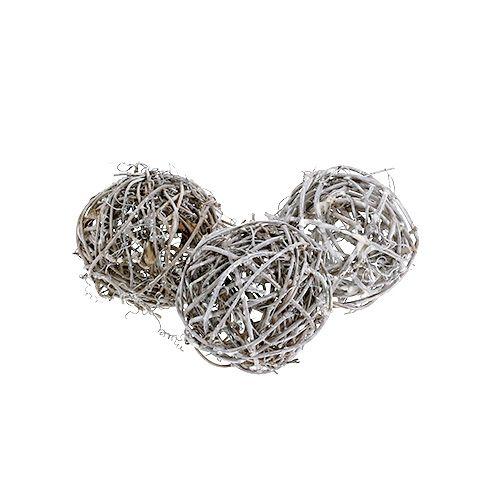Rattanball Ø7cm Grau geweißt 6St