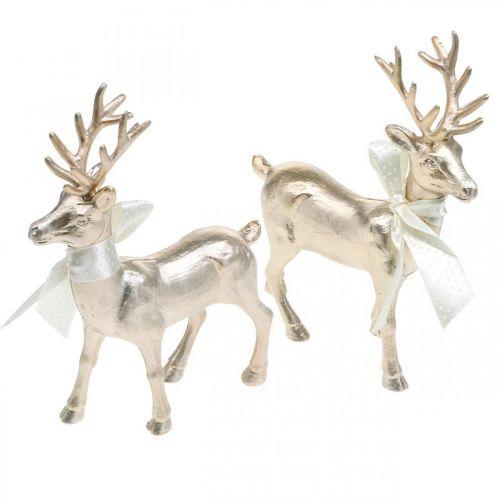 Deko Hirsch stehend Champagner Tischdeko Weihnachten 18,5cm 4St
