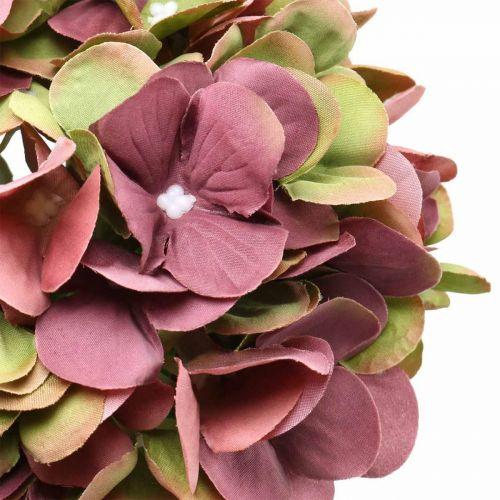 Hortensie künstlich Rosa, Bordeaux Kunstblume groß 80cm