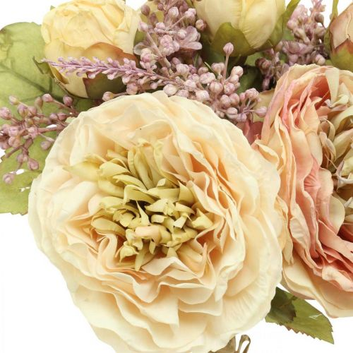 Rosen Kunstblumen im Bund Herbstbouquet Creme, Rosa H36cm