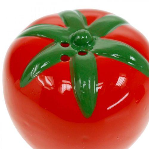 Pfeffer- und Salzstreuer, Tischdeko, Streuer-Set in Tomaten-Optik, Keramikdeko Ø6cm