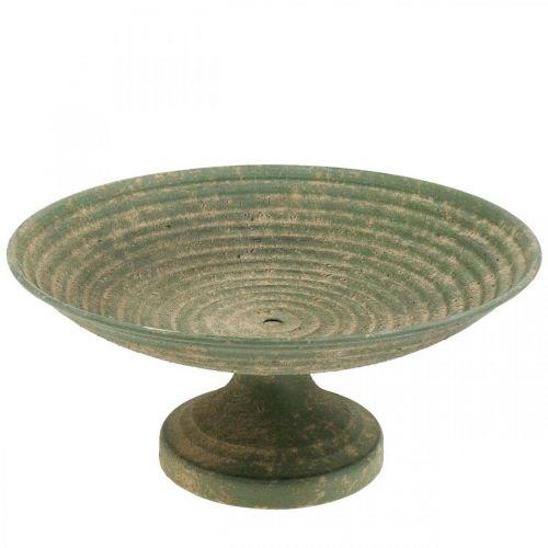 Schale mit Fuß, Deko-Schale, Metallgefäß Antikoptik Ø26cm H12cm