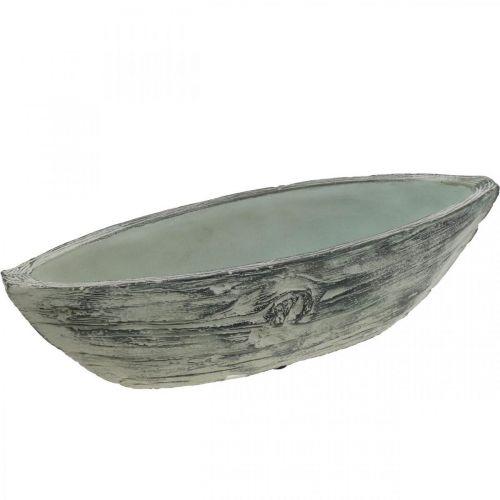 Pflanzschale oval Keramik Schiffchen Holz-Design 37×11,5cm H10cm