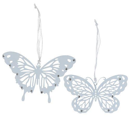 Schmetterling Hänger mit Strass Weiß 15cmx10cm 6St