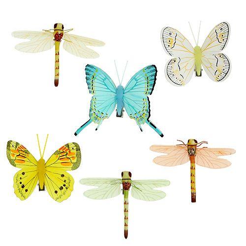 Schmetterling und Libelle mit Clip sortiert 6St