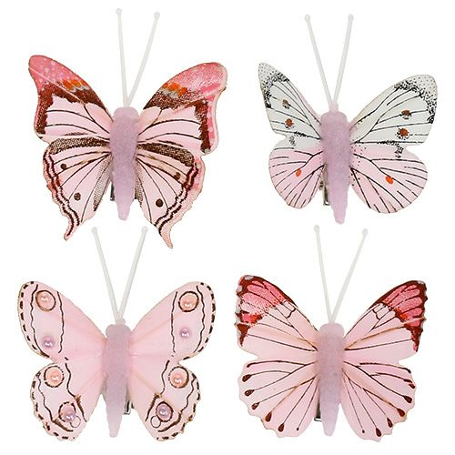 Schmetterling Rosa mit Clip 4,5cm 8St