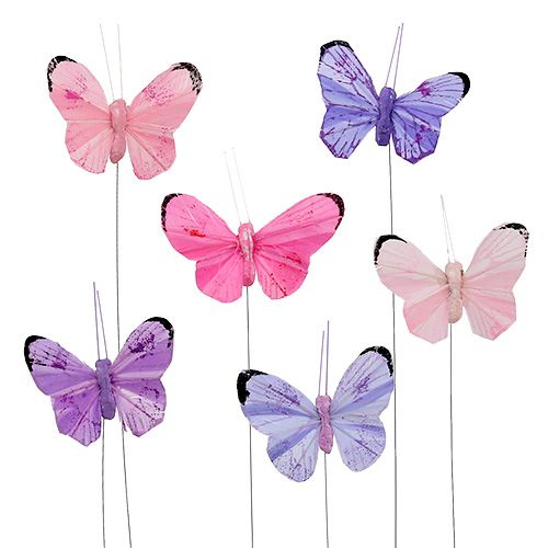 Schmetterling 5cm Rosa-Lila sort. 24St