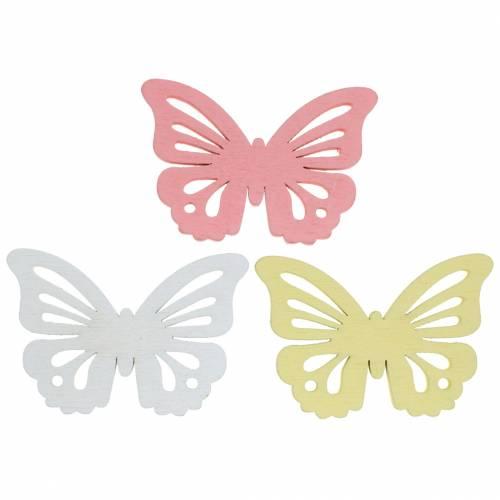Streudeko Schmetterling Weiß, Gelb, Rosa sortiert Holz 5cm 40St