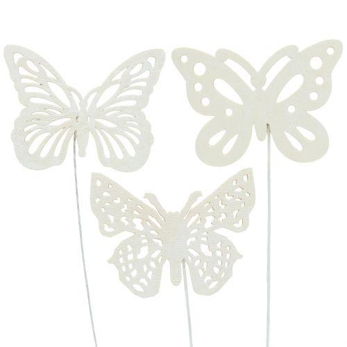 Blumenstecker Schmetterling Weiß 26cm 15St